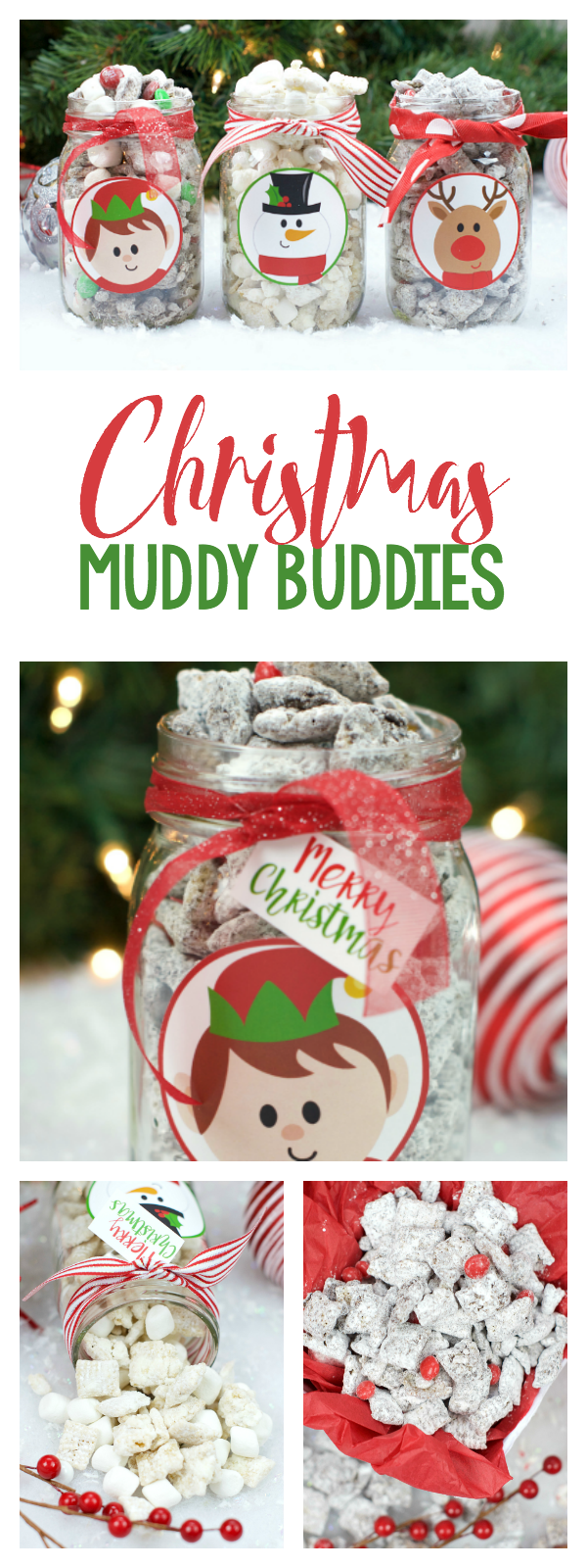 Christmas Muddy Buddies-This yummy Christmas treat is sure to please! Three different flavors and cute gift tags to package them up and make them gifts if you'd like! Great neighbor gift idea or a fun treat for a Christmas party! #christmasparty #christmastreats