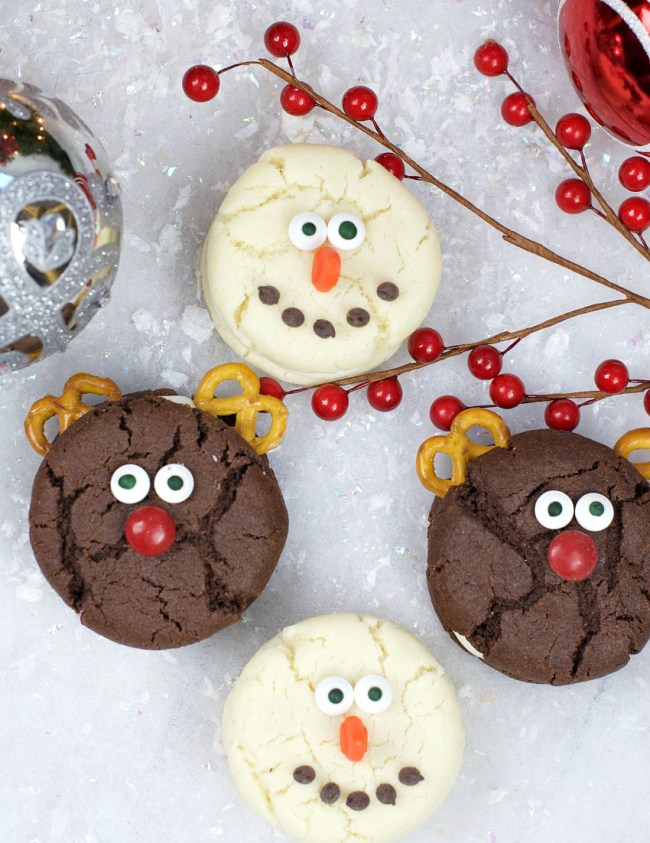 Easy Snowman and Reindeer Cookies for Christmas