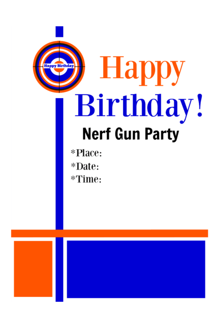 Nerf Gun Party Invitations