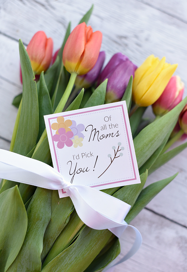 Mother's Day Flower Gift Tags-An easy Mother's Day gift! Get her a pretty bouquet of flowers or a nice plant and add this cute free printable tag. #mothersday #momgifts #giftsformom #mothersdaygifts