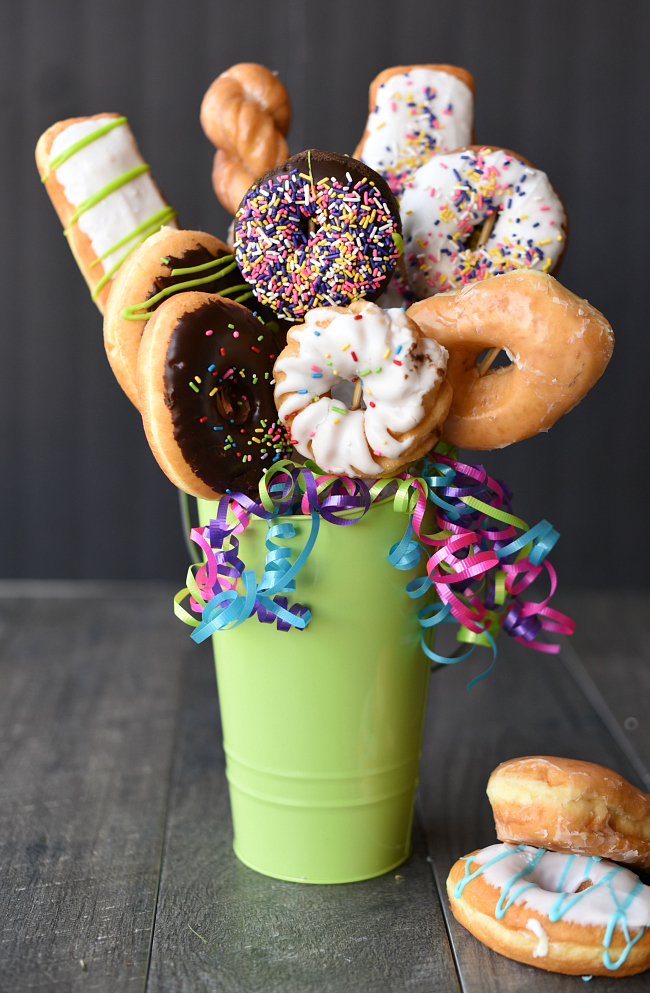 Donut Bouquet Gift Idea-How to Make a Doughnut Bouquet