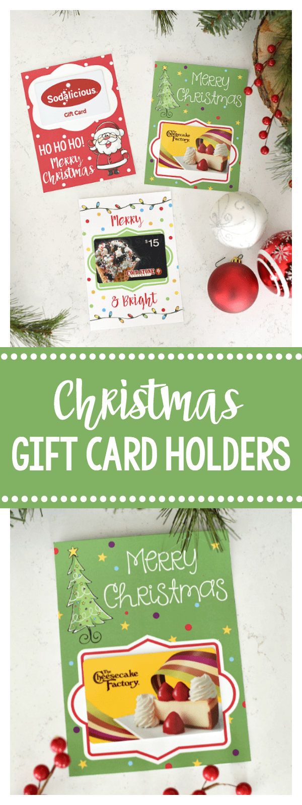 Printable Christmas Gift Card Holders-All you've got to do is add the gift card to these cute printable gift card holders and you've got a great Christmas gift for a friend, teacher or anyone! #christmas #christmasgifts #neighborgifts