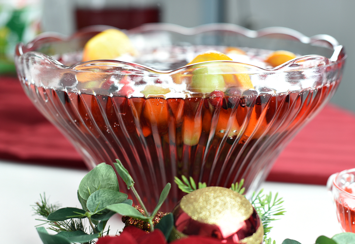 Holiday Punch Recipe-Punch Bowl Ice Ring with Fruit