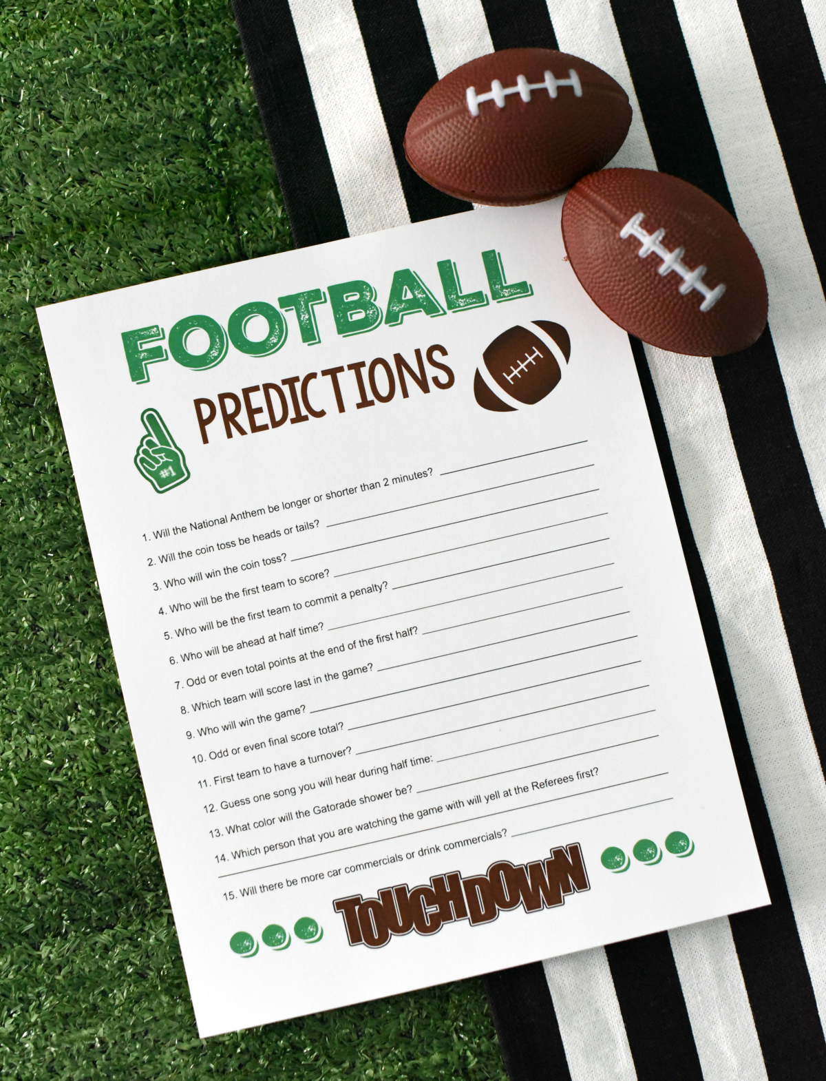 Super Bowl Party Games-Prop Bets Football Predictions