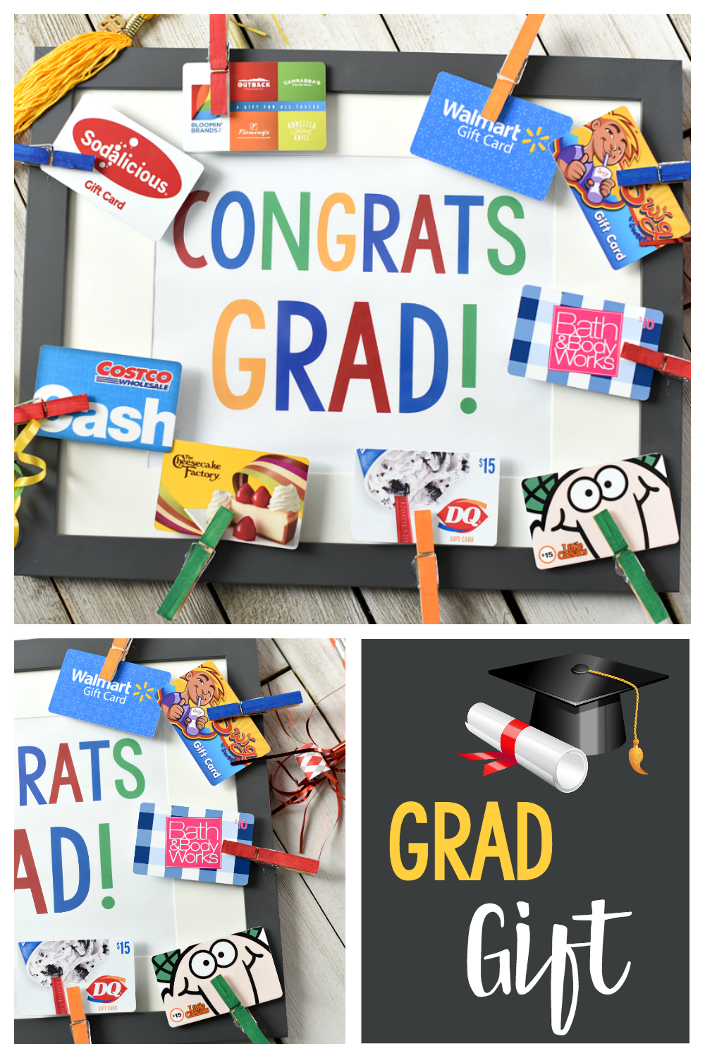 Cute Graduation Gift Ideas: This Congrats Grad Frame makes a great gift for a graduate whether it's from the university or high school or any graduation and it's great for him or her! #graduation #gradgift #graduationgifts #graduationgiftideas #graduationgiftidea