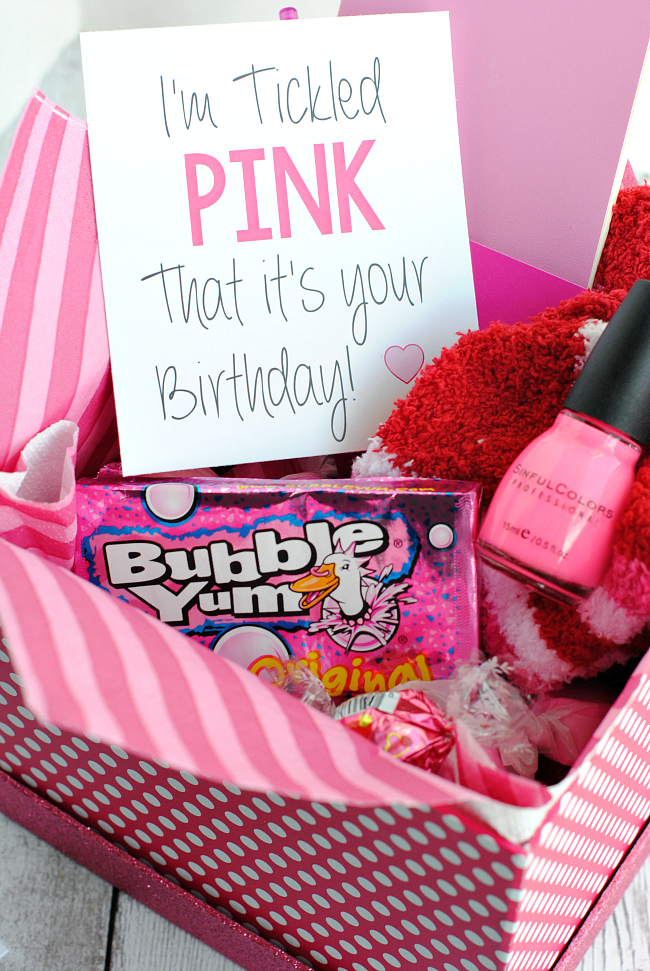 Tickled Pink Birthday Gift Idea For Friends A Cute Way To Tell Friend Happy