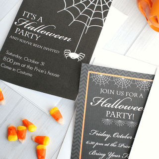 Cute Printable Halloween Invitations for your next Halloween party! Just personalize and print. #Halloween
