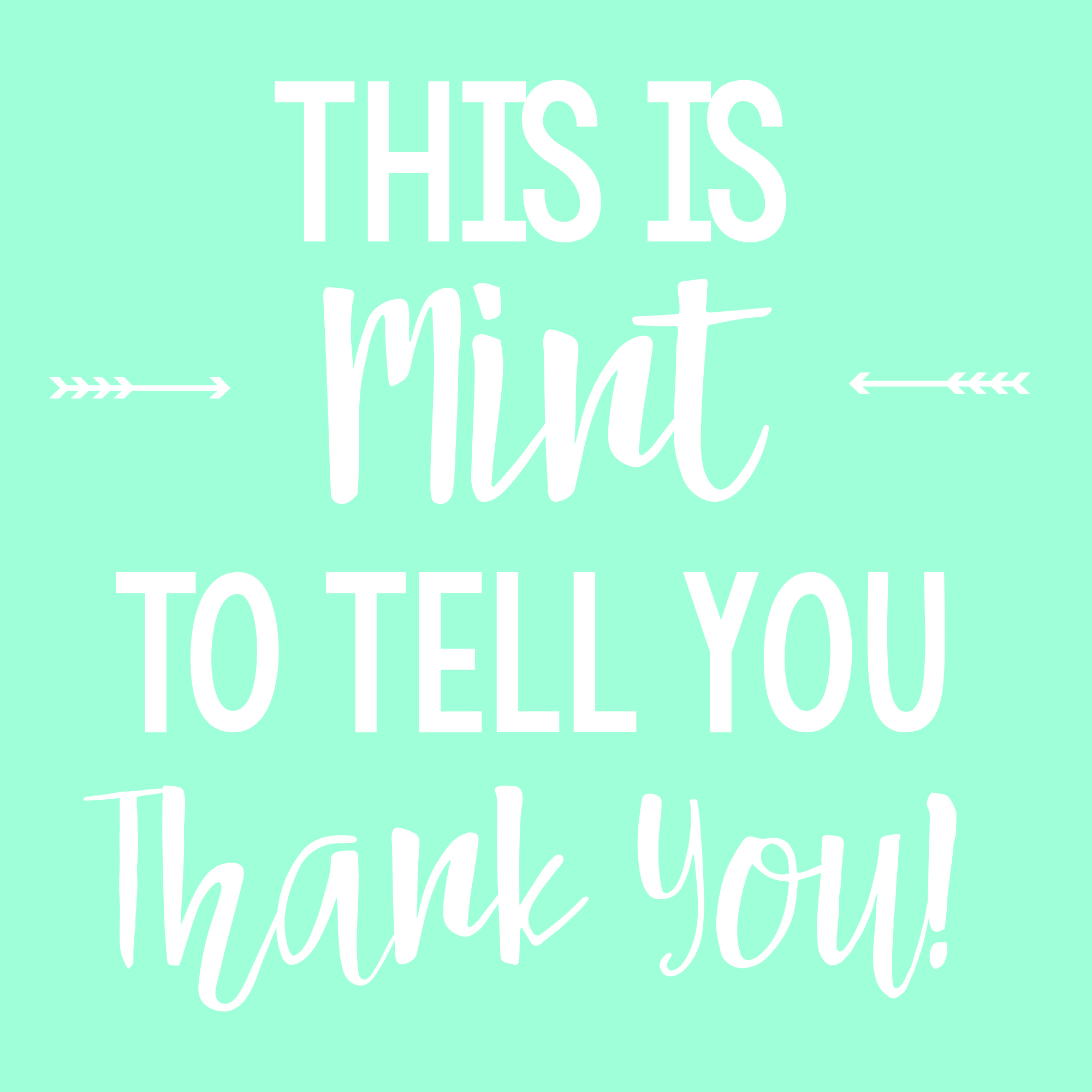 photo regarding Thank You for Your Commit Mint Printable known as Mint Themed Thank By yourself Clearly show Entertaining-Squared