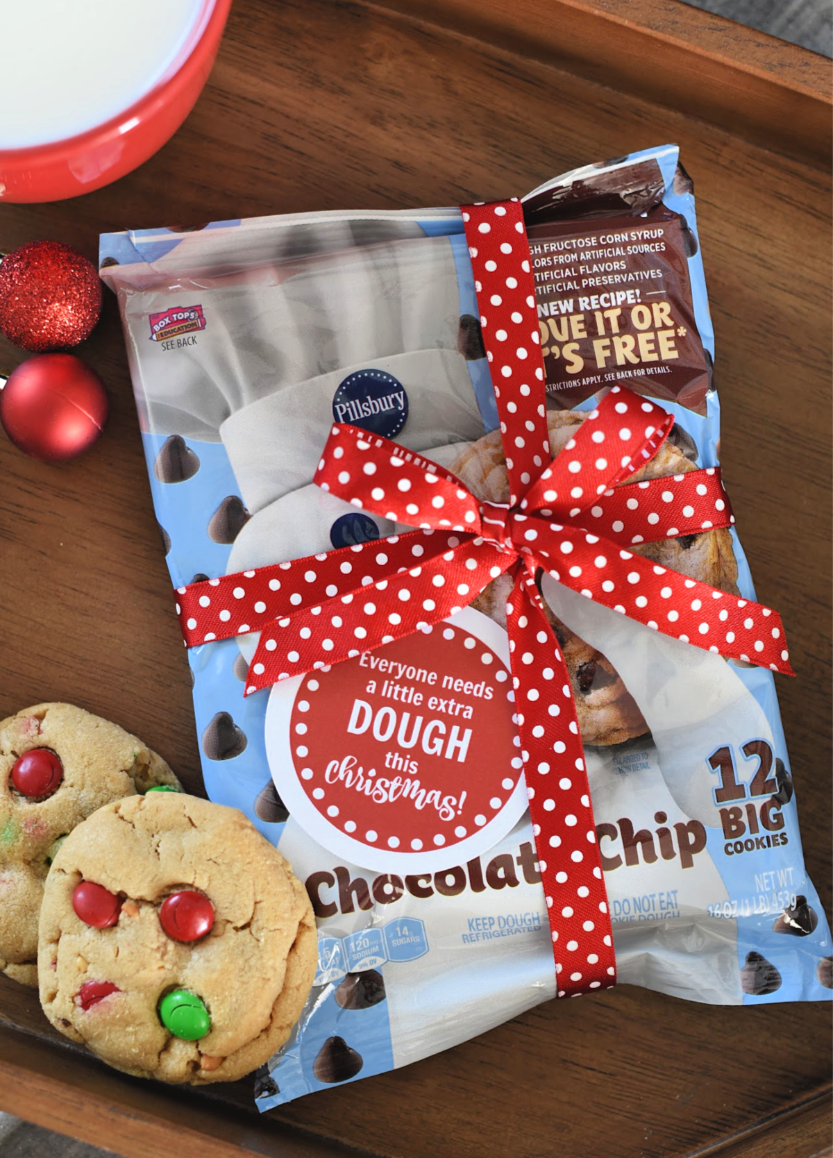 "Christmas Gift Idea for Neighbors and Friends-""Everyone needs a little DOUGH this Christmas!"" Add this tag to a container of cookie dough and they will love it! #neighborgifts #christmasgifts #giftideas"