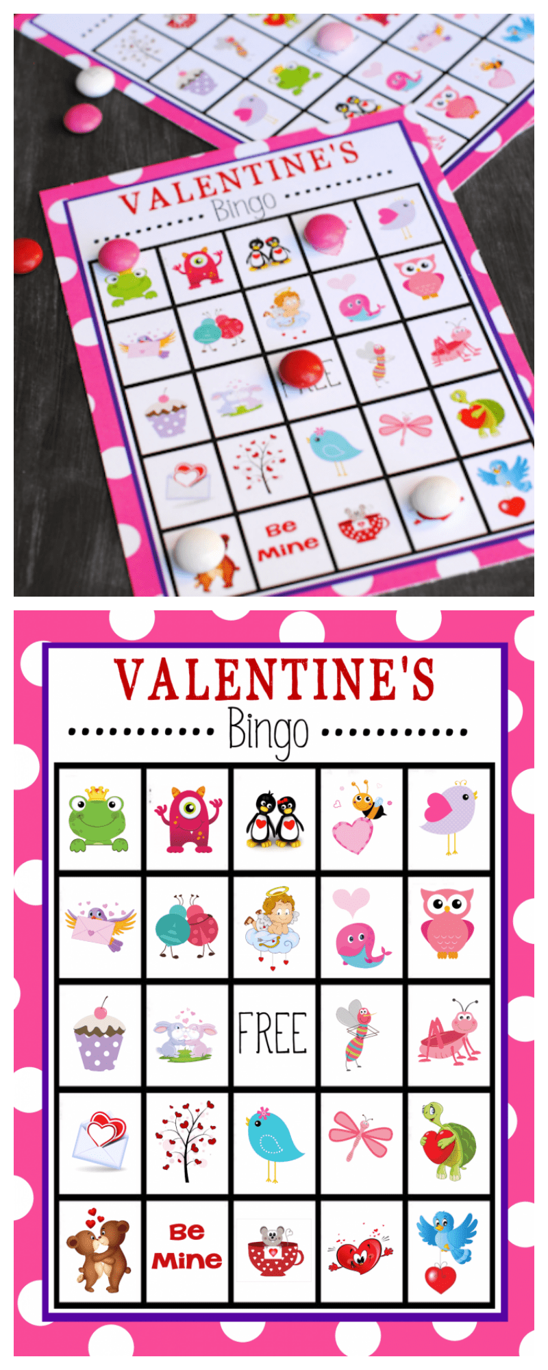 Valentine's Bingo Game to Print and Play! This Valentine Bingo is the perfect game to play for school parties or to have fun with the kids. #valentinesday #valentinesdayparty