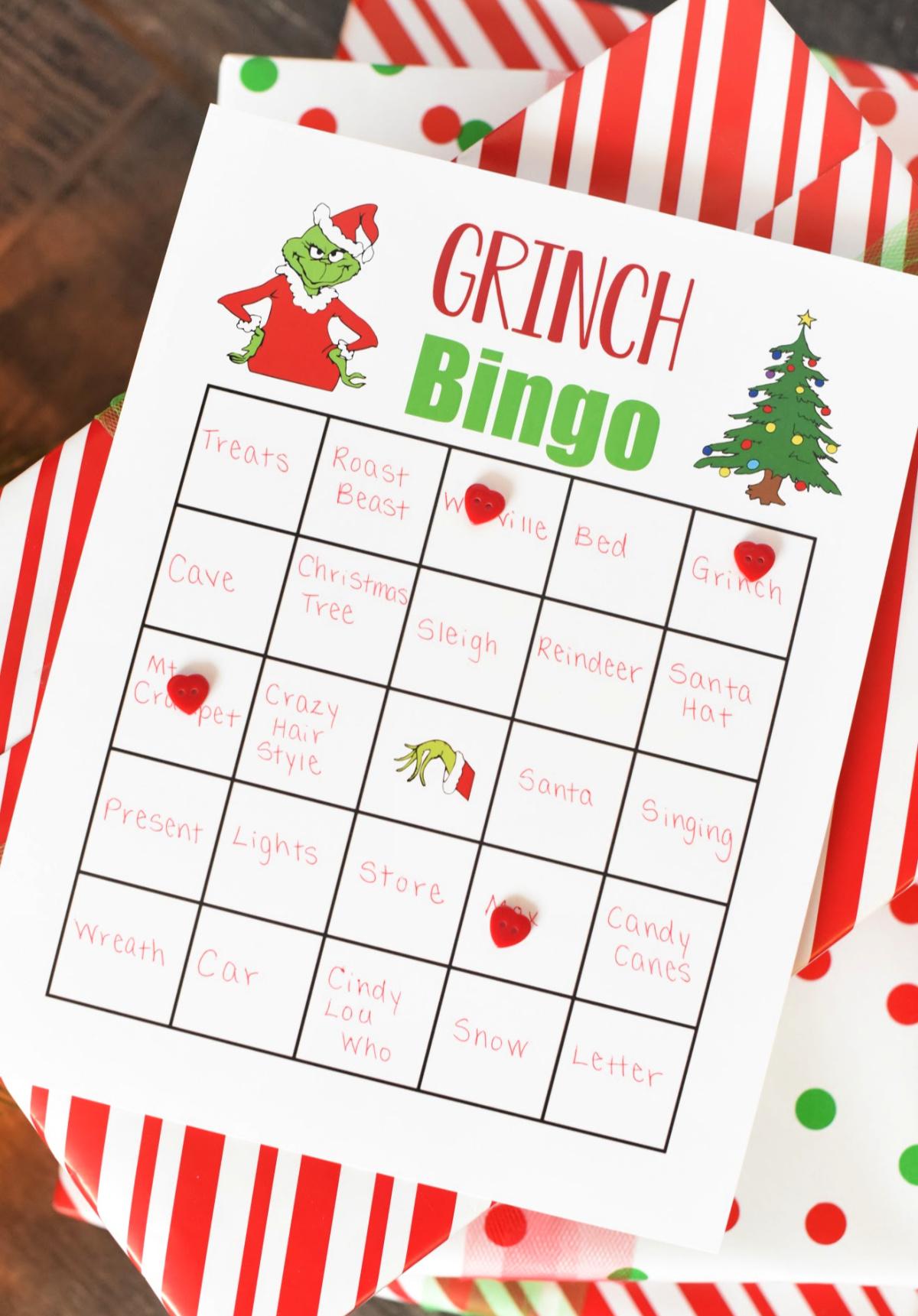 Grinch bingo game