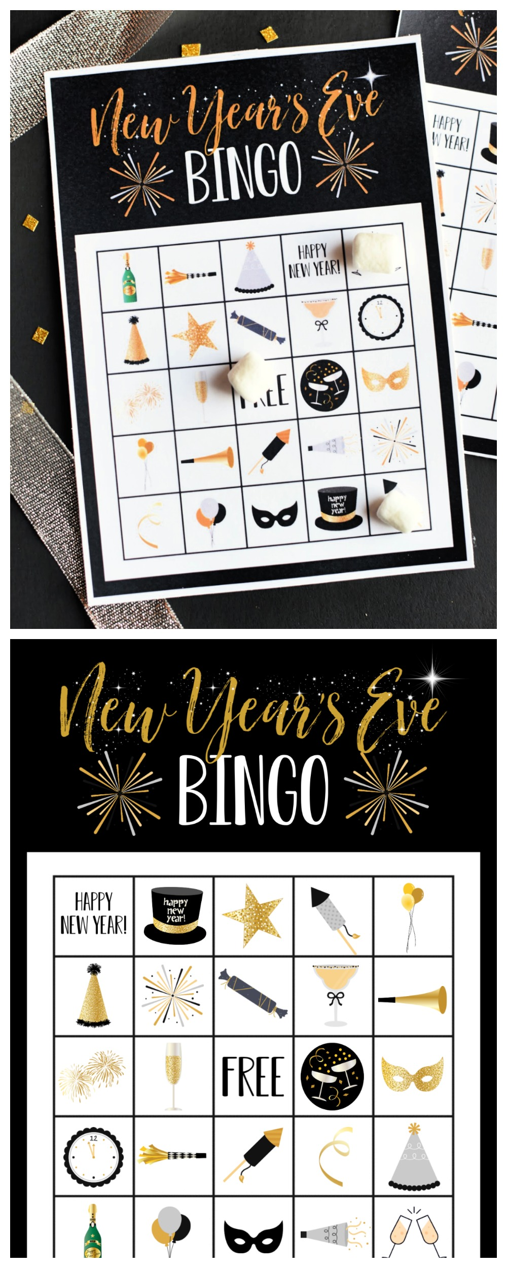 New Year's Eve Bingo Game to print and play while you count down to midnight on the big night! #newyearseve
