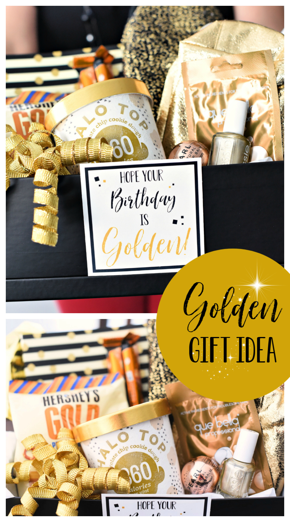 Golden Birthday Gift Idea-This cute gift basket is a perfect birthday gift for anyone and a super fun idea for a golden birthday. Just fill a basket or box with all things gold and add this cute tag. #birthdaygifts #birthdaygiftidea #birthday #birthdaygifts