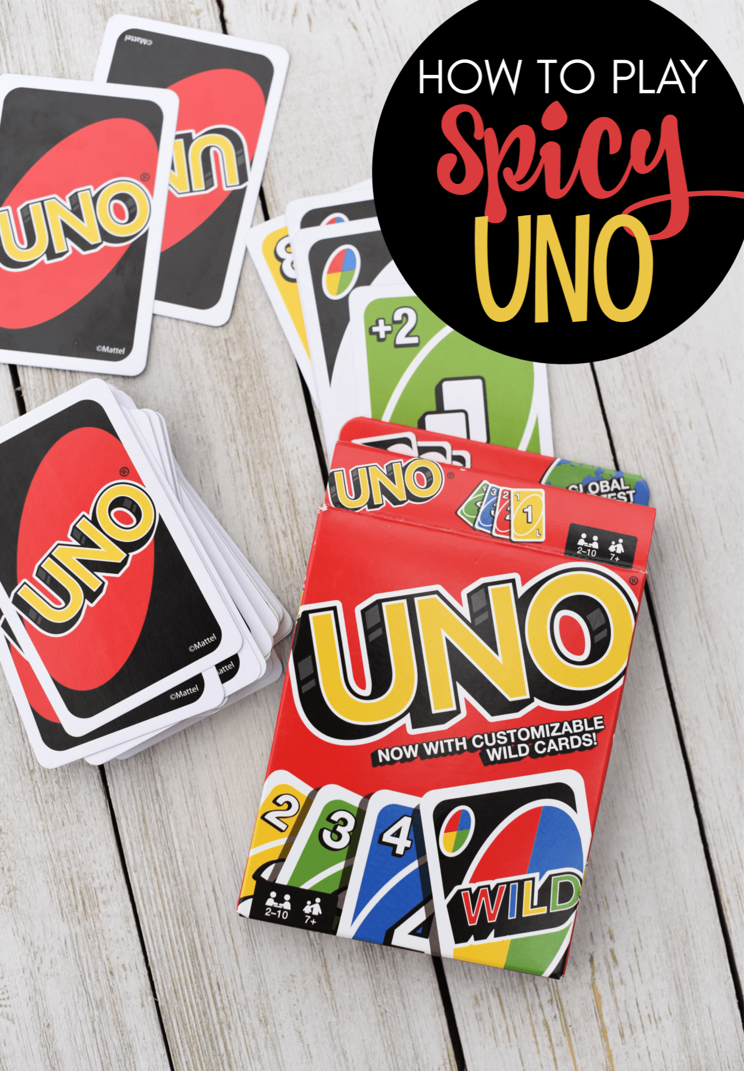 How to Play Spicy Uno-This spin on the traditional Uno game is SO much fun! Your family game nights just got a whole lot better. #games #familyfun