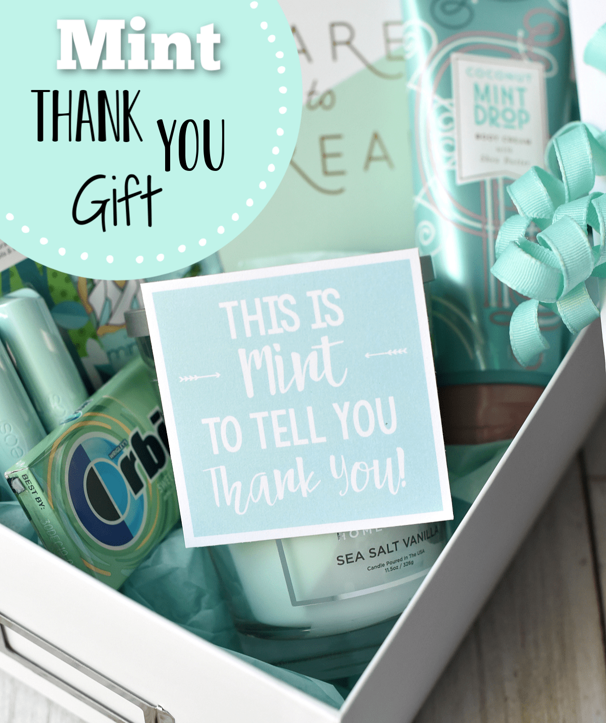 Fun Thank You Present Idea. This Mint Themed thank you gift is the perfect way to show your appreciation. It makes a perfect teacher gift as well. #thankyougift #funthankyougiftidea #teacherappreciation #teachergift
