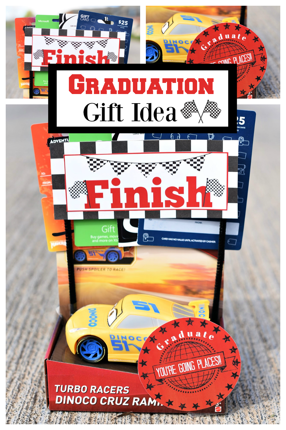 Fun and simple DIY graduation gift idea! If you have a graduate we have the perfect graduation gift. It's a fun way to give gift cards, any graduate will love it. #graduationgift #fungraduationidea #gifts #graduate