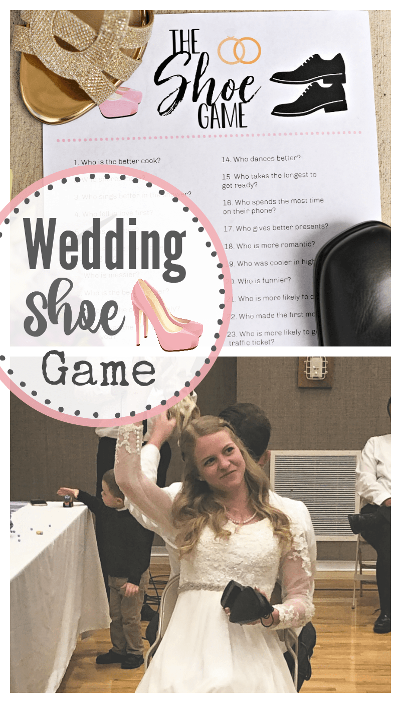 The Wedding Shoe Game-A great game to play at the reception. It's simple and fun and will have the guests laughing! #wedding #games #weddinggames