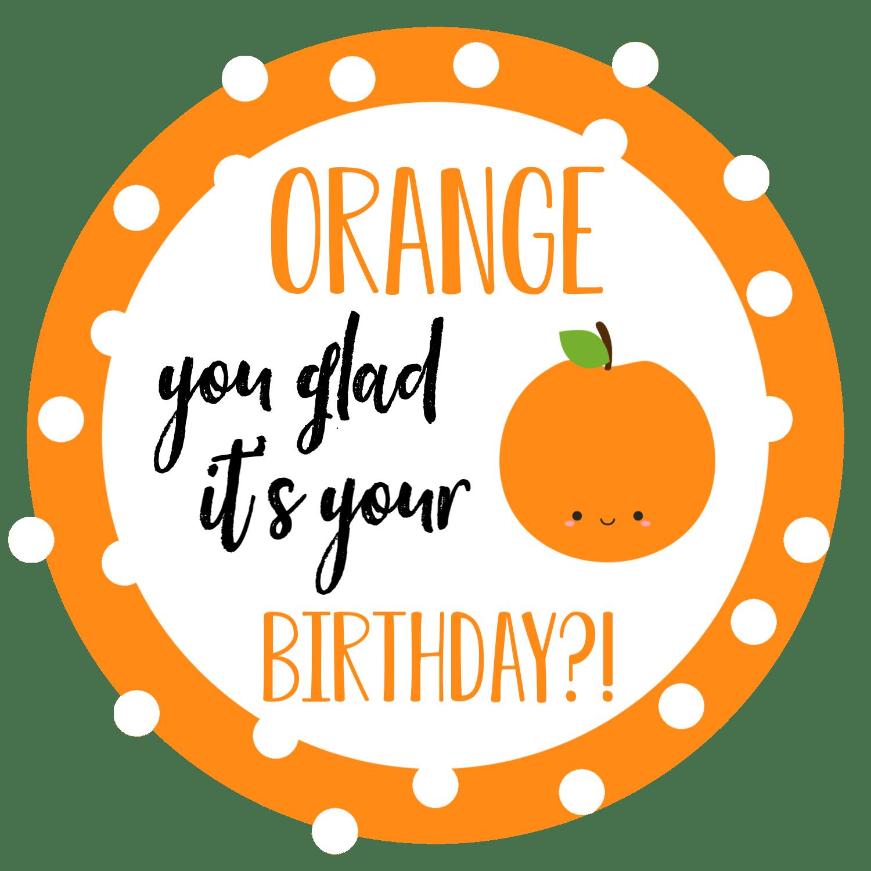 Orange Birthday Gift Tag