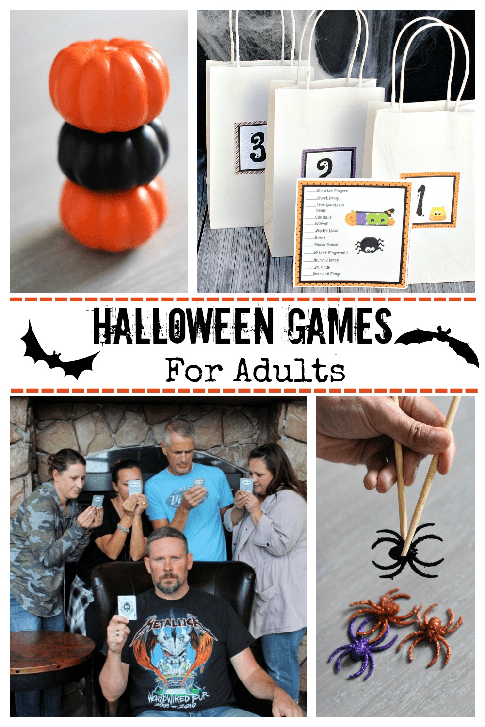 Fun Halloween Games for Adults. These Halloween games are perfect for your next Halloween party! Fun, simple Halloween games. #Halloweengames #AdultHalloweengames #fungames #funHalloweengames