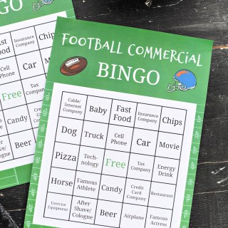 Free Printable Superbowl Bingo Game-Just print this out and have fun watching the commercials during the big football game and see who wins! #football #games