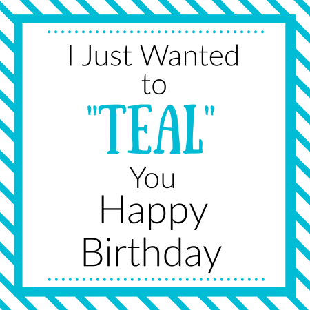 Teal Themed Birthday Gift Tag