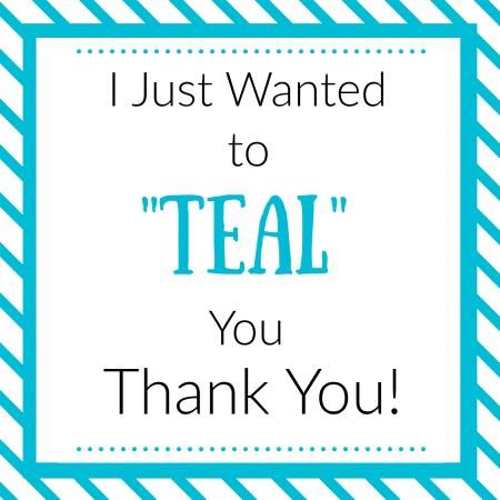 Printable Teal Thank You Gift Tag