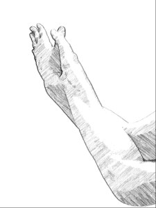 手の平を合わせた鷲のポーズ