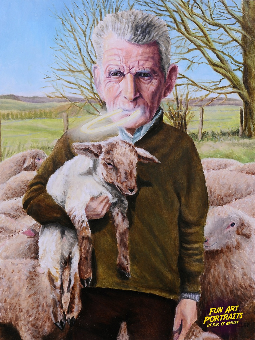 Samuel Becett holds a lamb with a Halo