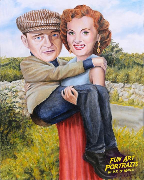 Maureen o Hara hold up John wayne in her arms
