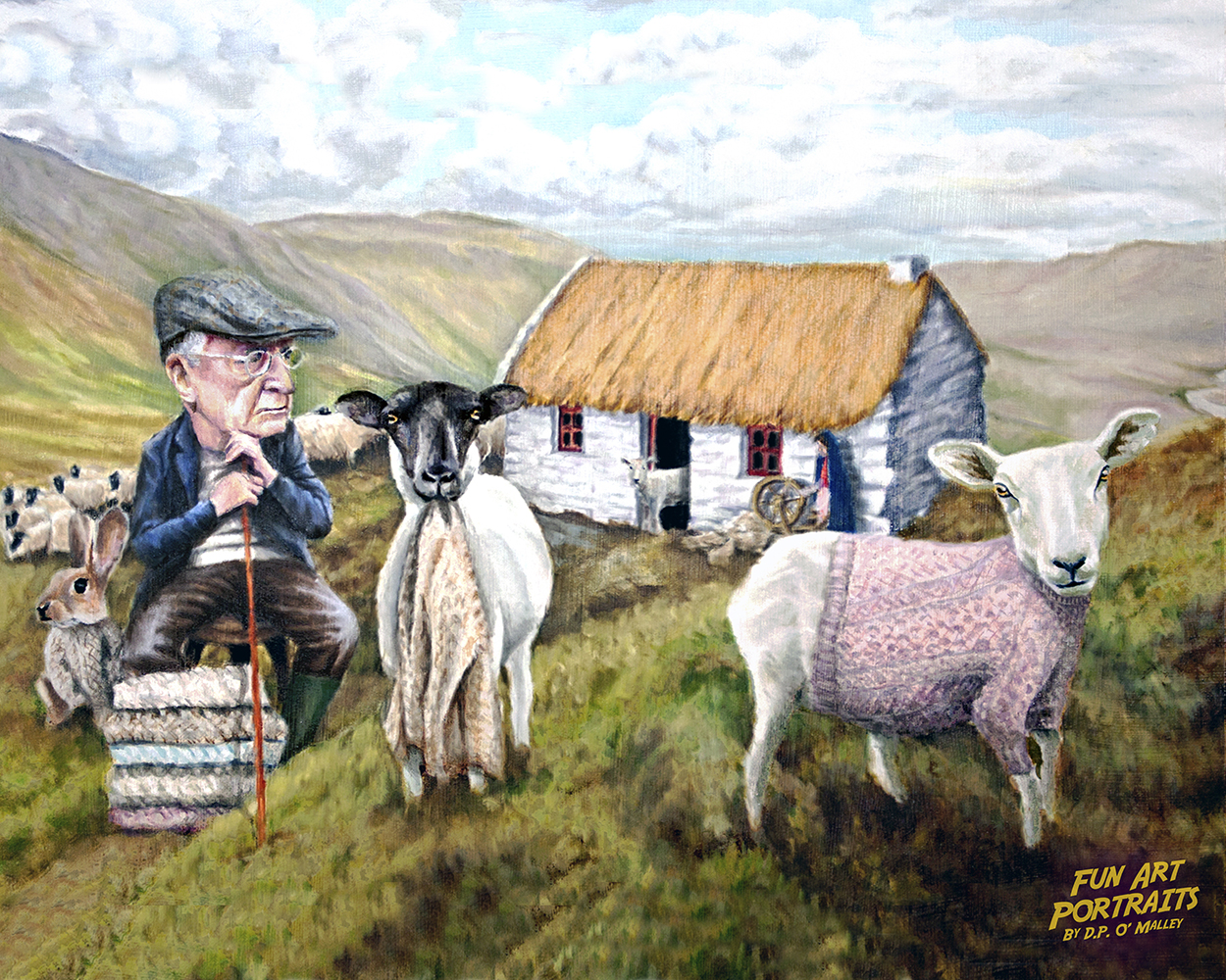 A Farmer seated in front of a cottagesells a woolly jumper sweater to a sheep after it has been sheared