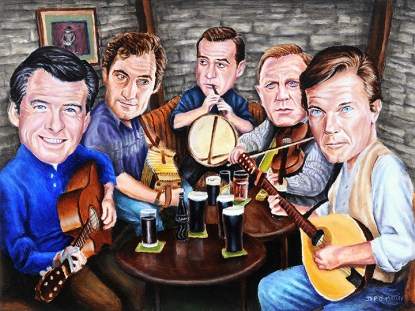 Various James Bonds enjoy a musicial session in an Irish pub