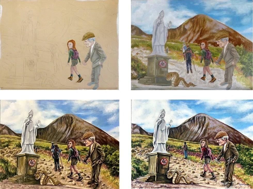 Croagh Patrick painting progression