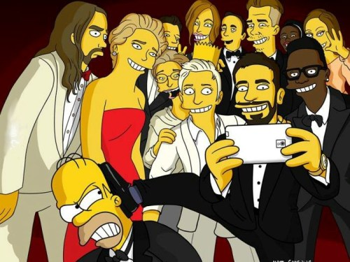 Oscar® Selfie: A wider view in Simpsons style