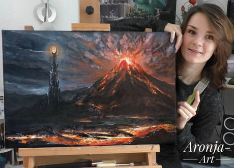 Oil Painting of Mordor