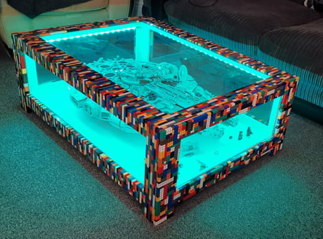 This guy made a coffee table for his Lego millennium falcon.