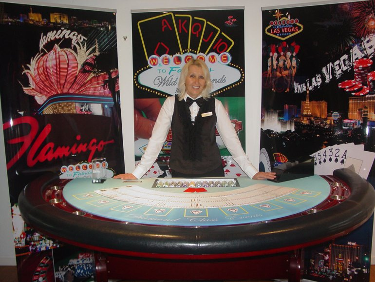 Blackjack Nights. Fun Casino BlackJack table with cards and Croupier for a Real Deal