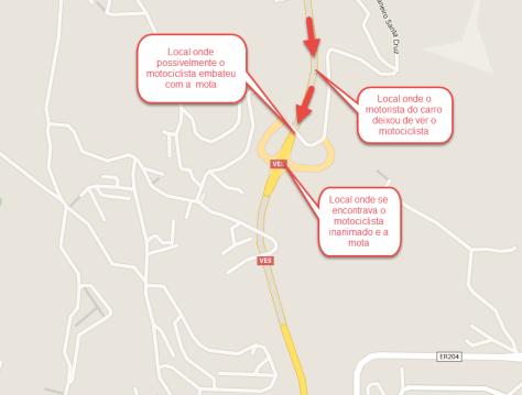 Diagrama do local e das circunstâncias do acidente