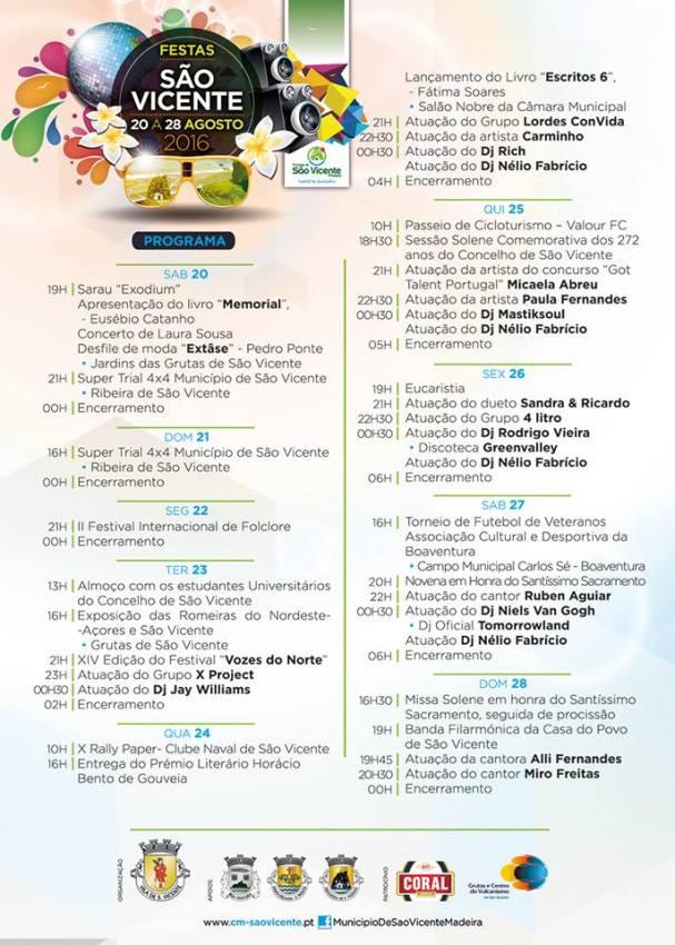 Festas de S. Vicente 2016  Programa