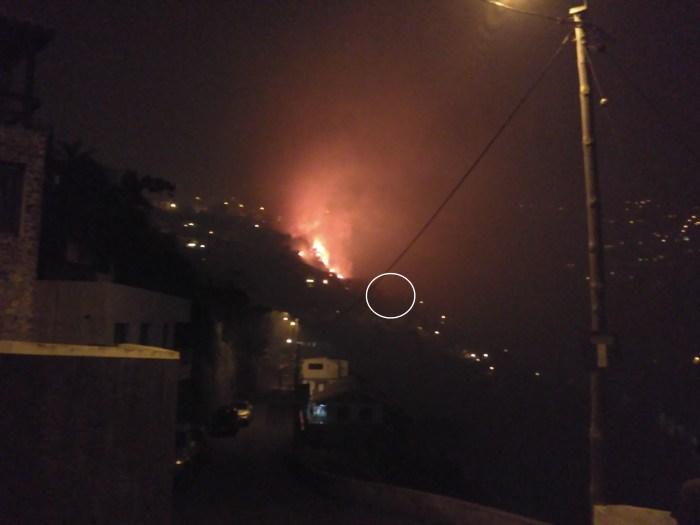 Imagem captada do mesmo local, cinco dias antes. O fo preparava-se já para descer até ao Funchal.