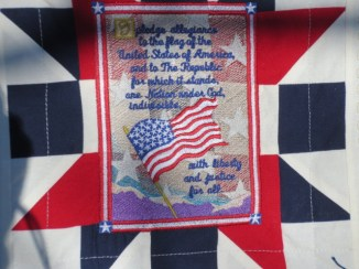 This is the center block on my patriotic quilt for son