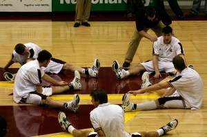 A team Warm-up should prepare players for the challenges ahead. It is a time of mental and physical transition from off the court to on the court (Photo Source: Terry Johnston)