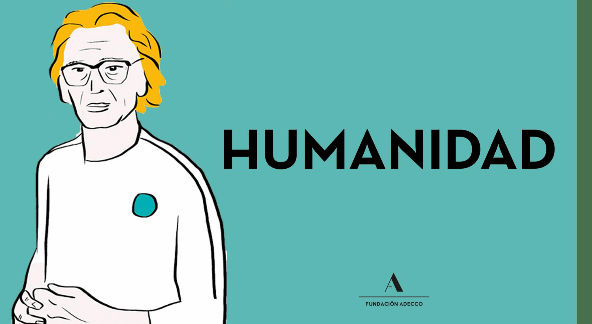 """Dibujo hombre junto a la palabra """"humanidad"""""""