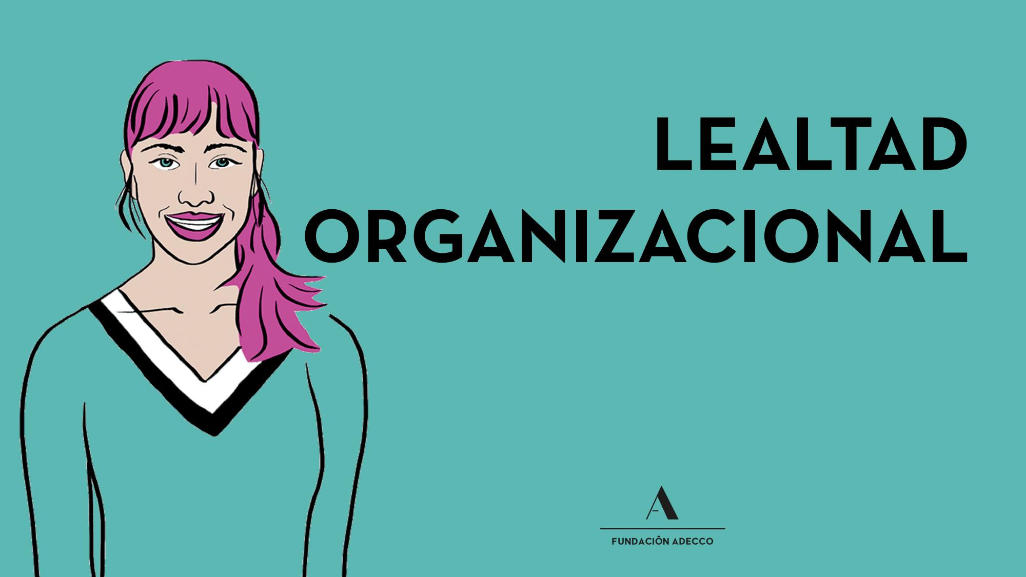 "Dibujo mujer junto alas palabras ""lealtad organizacional"""