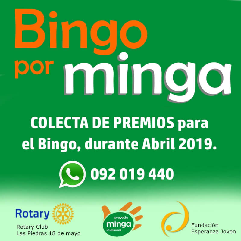 Colecta de premios en abril 2019 para Bingo por Minga