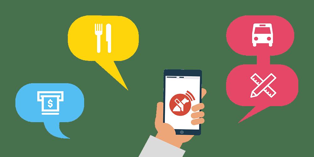 Ilustración de una mano sosteniendo un celular y dentro de este el logo de Lazarillo App. Al rededor globos de diálogo con acciones mediante iconos, como pagar, restaurante, transporte, etc.