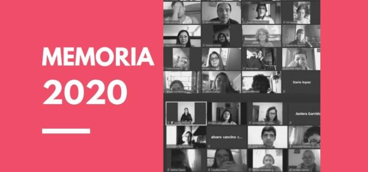 Imagen a la derecha dice Memoria 2020 y a la derecha tiene varias fotos de participantes en blanco y negro, de clases online