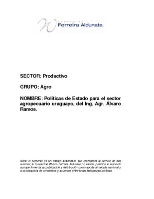 Políticas de Estado para el Sector Agropecuario Uruguayo