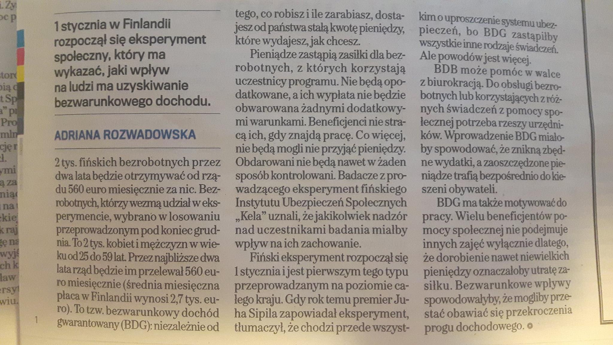 Jedyny taki na świecie dochód gwarantowany, czyli fiński eksperyment