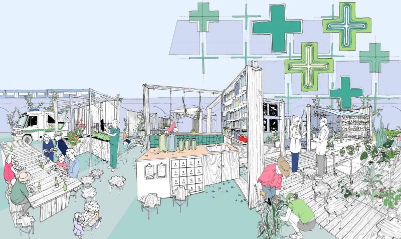 ilustracja projektu londyńskiego ogrodu społecznego