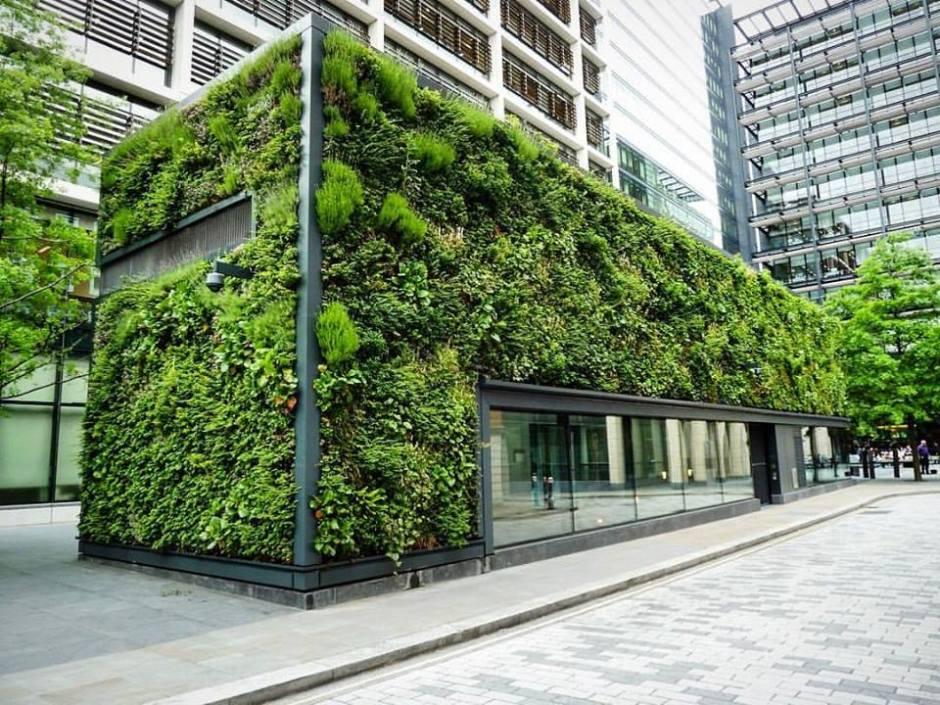 zielone ściany w biurowcu w londyn city